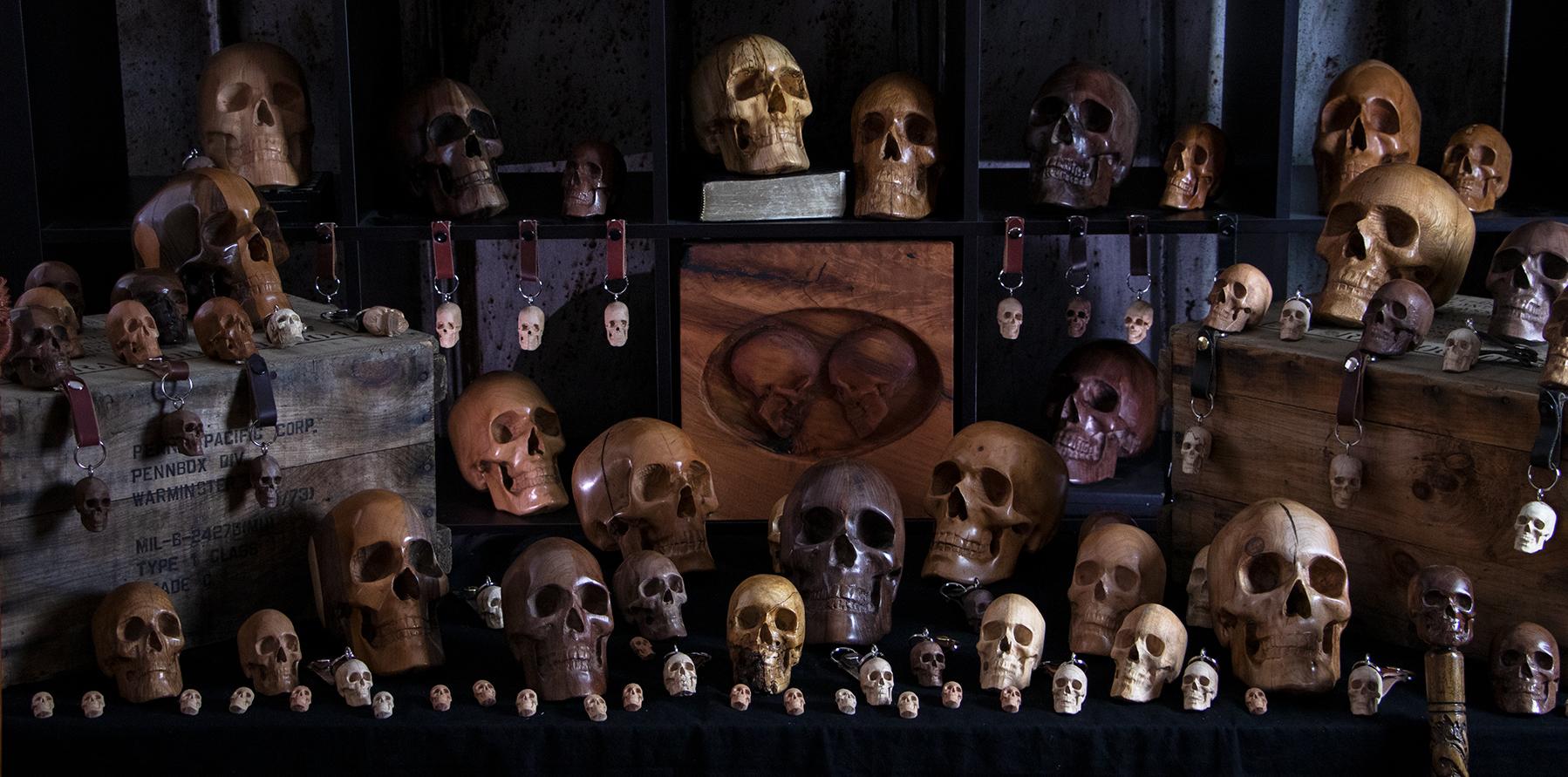 Handcrafted Wooden Skulls