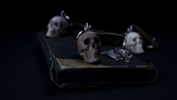 Walnut Skull Keychain