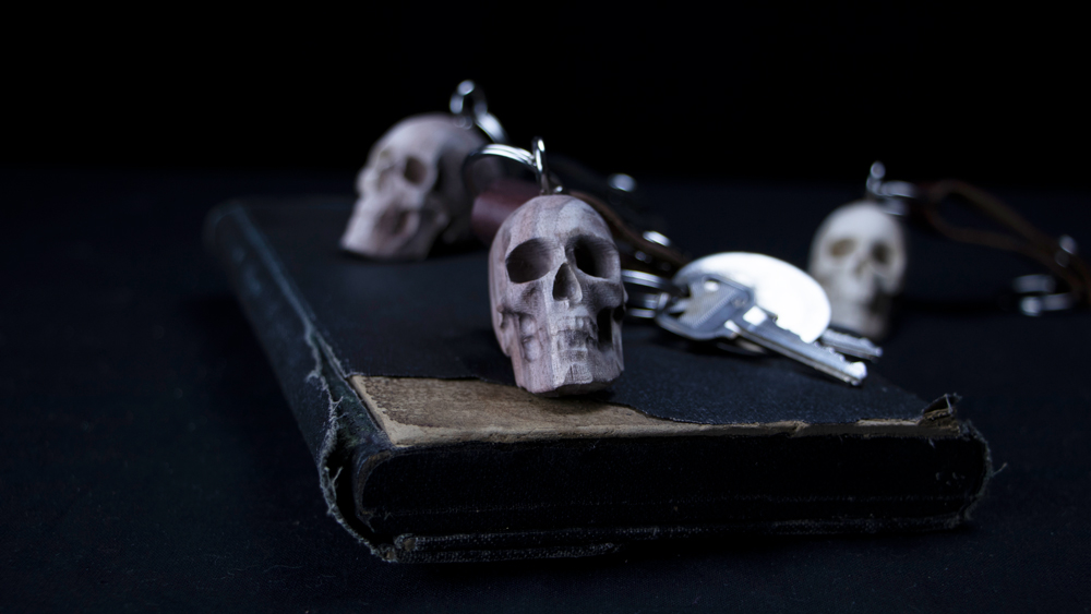 Handcrafted Wooden Skull Keychains