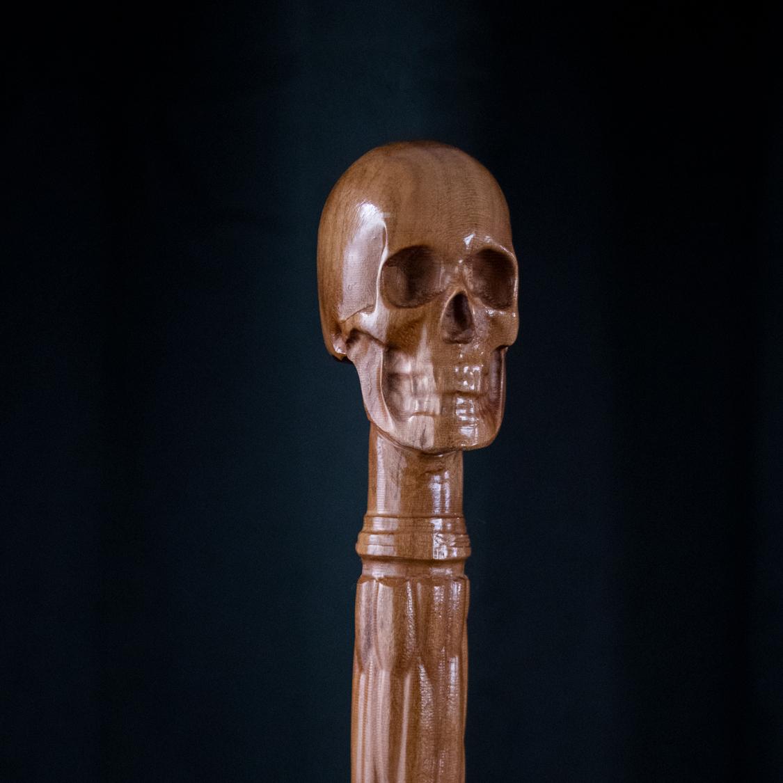 Wooden Skull Earring